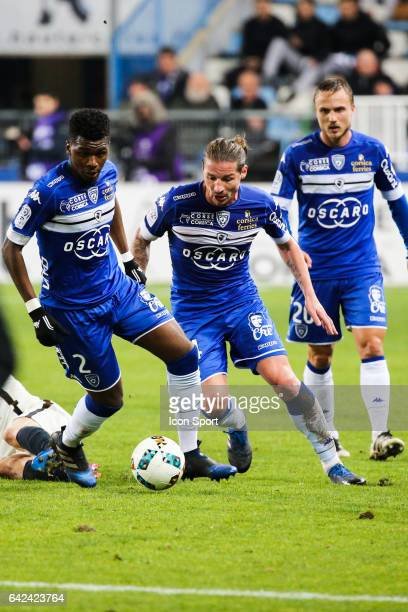 Sadio Diallo Mehdi Mostefa and Pierre Bengtsson of Bastia during the French Ligue 1 match between Bastia and Monaco at Stade Armand Cesari on...