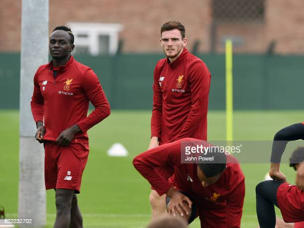 Sadio Mane and Andy Robertson of Liverpool during a training session at Melwood Training Ground on July 25 2017 in Liverpool England