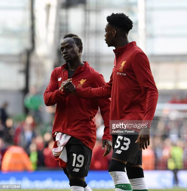 Sadio Mane and Ovie Ejaria of Liverpool at the end of a pre season friendly match between Liverpool and Athletic Bilbao at Aviva Stadium on August 5...
