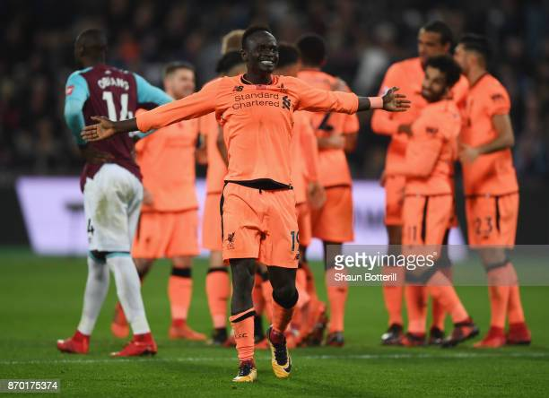 Sadio Mane of Liverpool celebrates after making the assist of his sides fourth goal scored by Mohamed Salah of Liverpool during the Premier League...