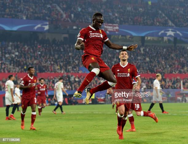 Sadio Mane of Liverpool celebrates after scoring the second goal during the UEFA Champions League group E match between Sevilla FC and Liverpool FC...
