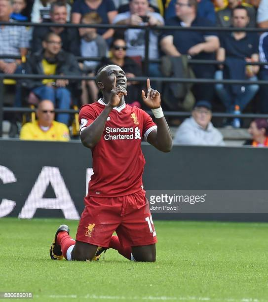 Sadio Mane of Liverpool Celebrates his Goal during the Premier League match between Watford and Liverpool at Vicarage Road on August 12 2017 in...
