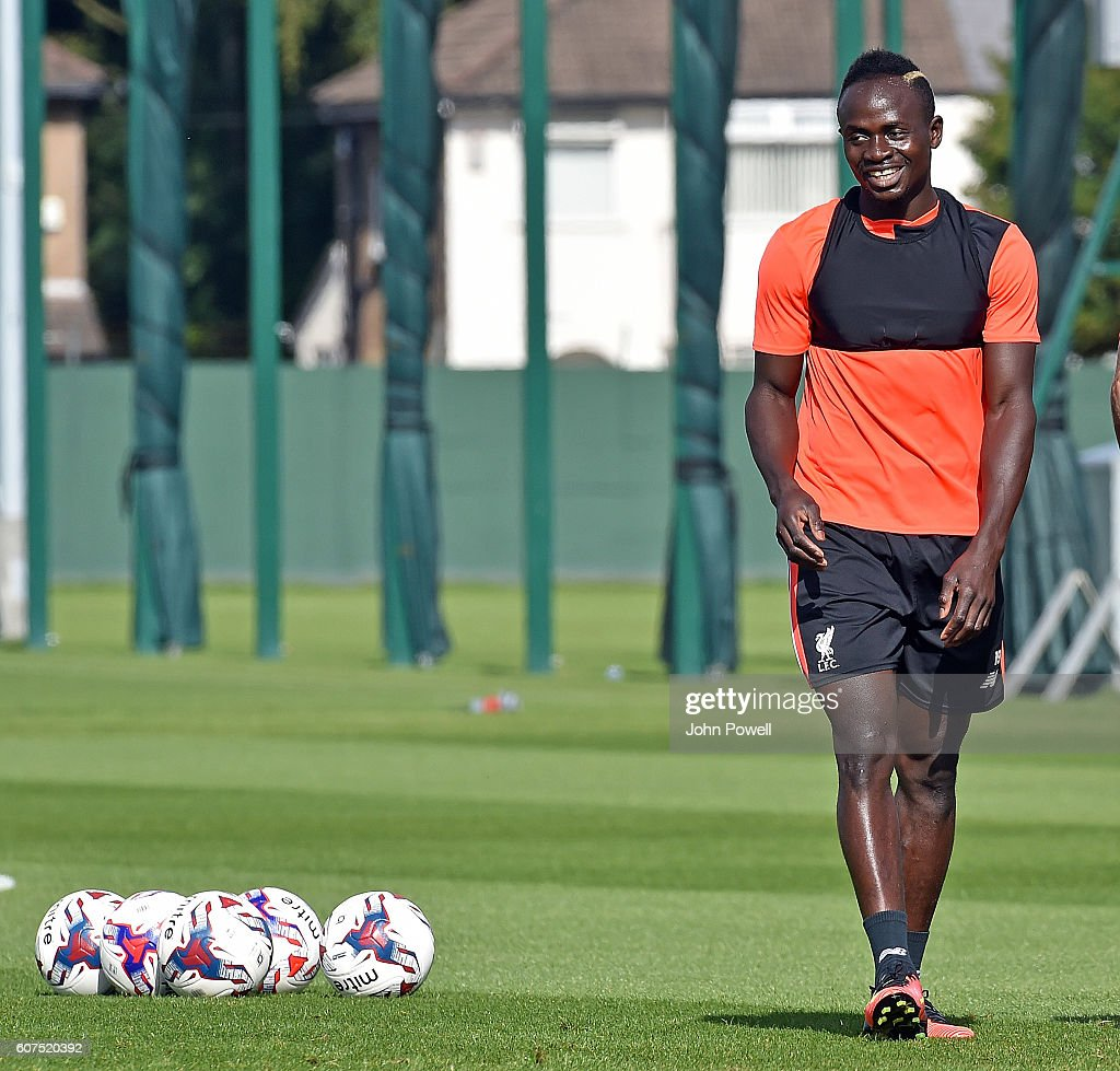 Sadio Mane of Liverpool during a training session at Melwood Training Ground on September 18, 2016 in Liverpool, England.