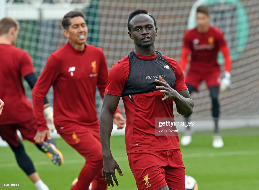 Sadio Mane of Liverpool during a training session at Melwood Training Ground on August 10, 2017 in Liverpool, England.