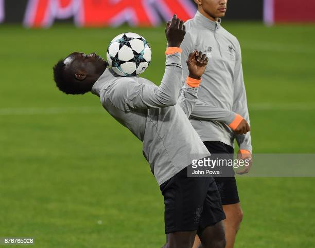 Sadio Mane of Liverpool during a training session at the Ramon Sanchez Pizjuan Stadium on November 20 2017 in Seville Spain