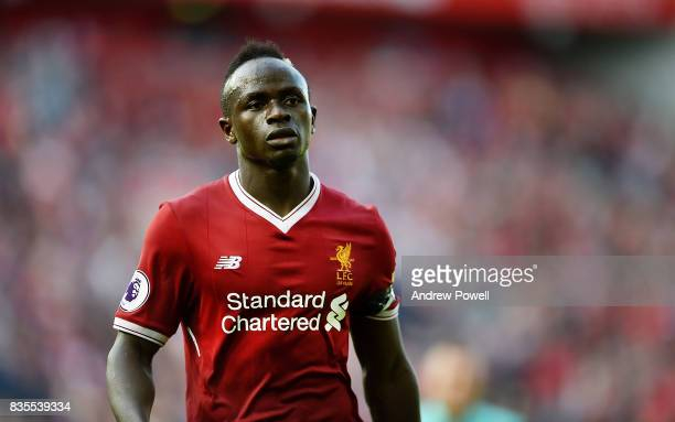 Sadio Mane of Liverpool during the Premier League match between Liverpool and Crystal Palace at Anfield on August 19 2017 in Liverpool England