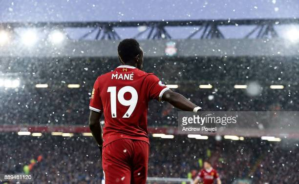 Sadio Mane of Liverpool during the Premier League match between Liverpool and Everton at Anfield on December 10 2017 in Liverpool England