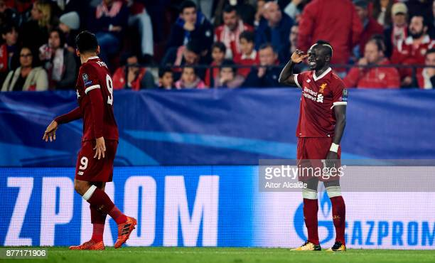 Sadio Mane of Liverpool FC celebrates after scoring his team's second goal during the UEFA Champions League group E match between Sevilla FC and...
