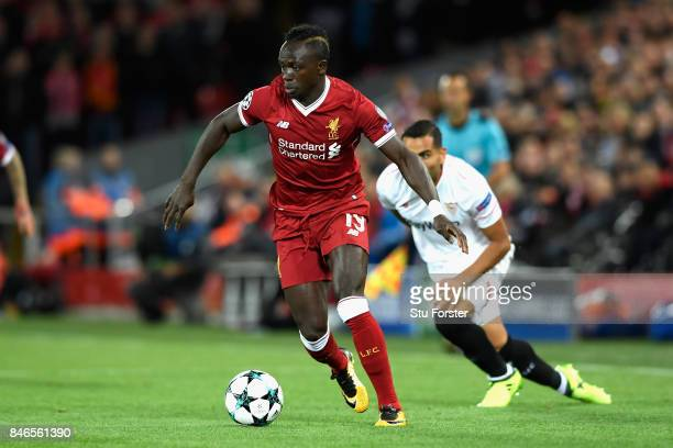 Sadio Mane of Liverpool FC in action during the UEFA Champions League group E match between Liverpool FC and Sevilla FC at Anfield on September 13...