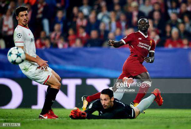 Sadio Mane of Liverpool FC in action during the UEFA Champions League group E match between Sevilla FC and Liverpool FC at Estadio Ramon Sanchez...