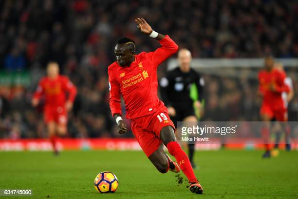 Sadio Mane of Liverpool in action during the Premier League match between Liverpool and Tottenham Hotspur at Anfield on February 11 2017 in Liverpool...