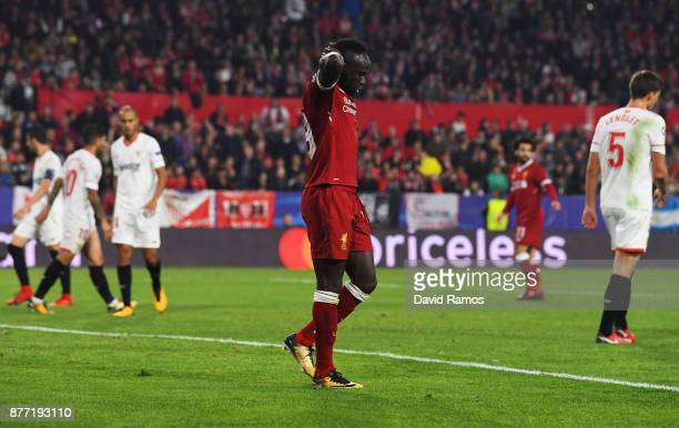 Sadio Mane of Liverpool reacts after a missed chance during the UEFA Champions League group E match between Sevilla FC and Liverpool FC at Estadio...