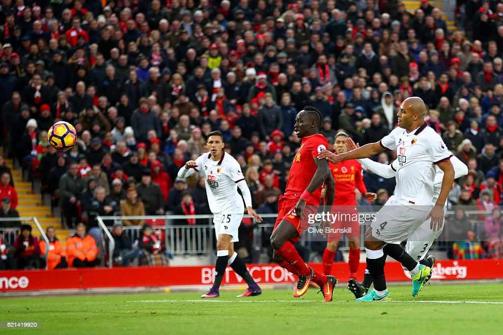 Sadio Mane of Liverpool scores his second and his sides fifth goal during the Premier League match between Liverpool and Watford at Anfield on November 6, 2016 in Liverpool, England.