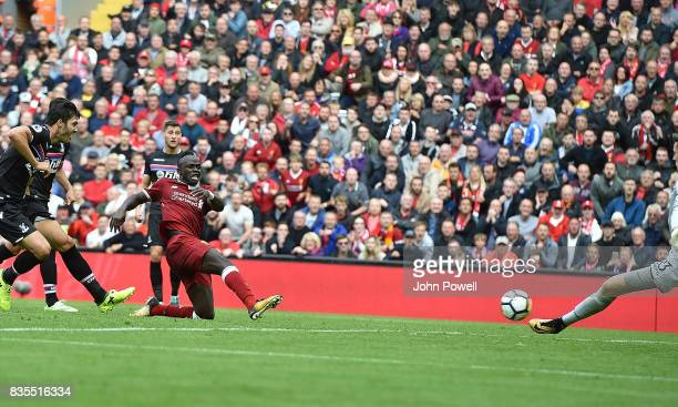 Sadio Mane of Liverpool scores The Opener during the Premier League match between Liverpool and Crystal Palace at Anfield on August 19 2017 in...