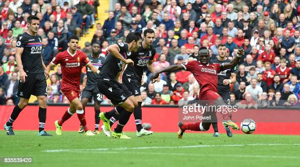 Sadio Mane of Liverpool scoring during the Premier League match between Liverpool and Crystal Palace at Anfield on August 19 2017 in Liverpool England
