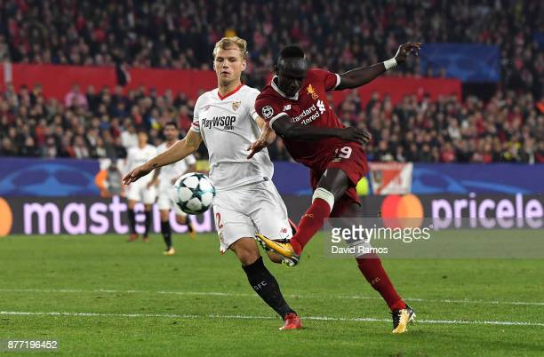 Sadio Mane of Liverpool shoots during the UEFA Champions League group E match between Sevilla FC and Liverpool FC at Estadio Ramon Sanchez Pizjuan on...