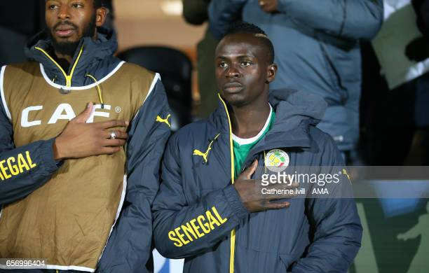Sadio Mane of Senegal during the national anthem before the International Friendly match between Nigeria and Senegal at The Hive on March 23 2017 in...