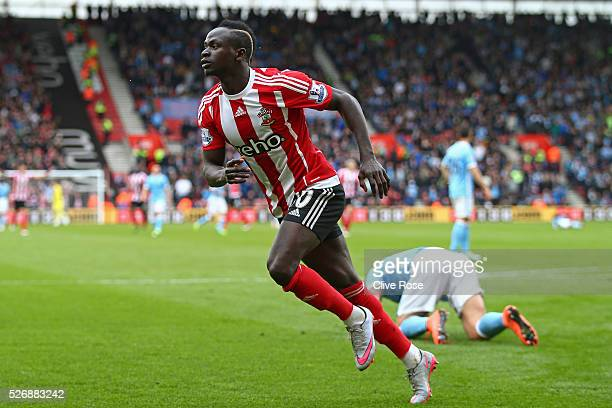 Sadio Mane of Southampton celebrate as he scores his third goal and his team's fourth during the Barclays Premier League match between Southampton...