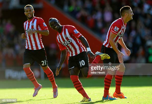 Sadio Mane of Southampton celebrates after scoring the opening goal during the Barclays Premier League match between Southampton and Stoke City at St...