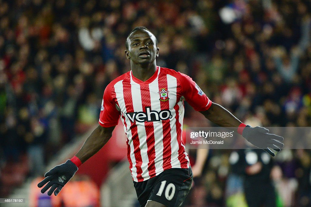 Sadio Mane of Southampton celebrates after scoring the opening goal during the Barclays Premier League match between Southampton and Crystal Palace...