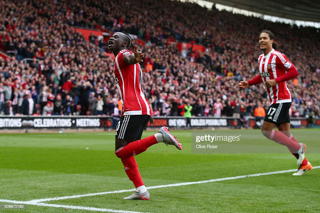 Sadio Mane of Southampton (10) celebrates as he scores his second goal and his team's third during the Barclays Premier League match between Southampton and Manchester City at St Mary's Stadium on May 1, 2016 in Southampton, England.