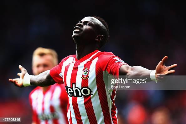Sadio Mane of Southampton celebrates scoring during the Barclays Premier League match between Southampton and Aston Villa at St Mary's Stadium on May...