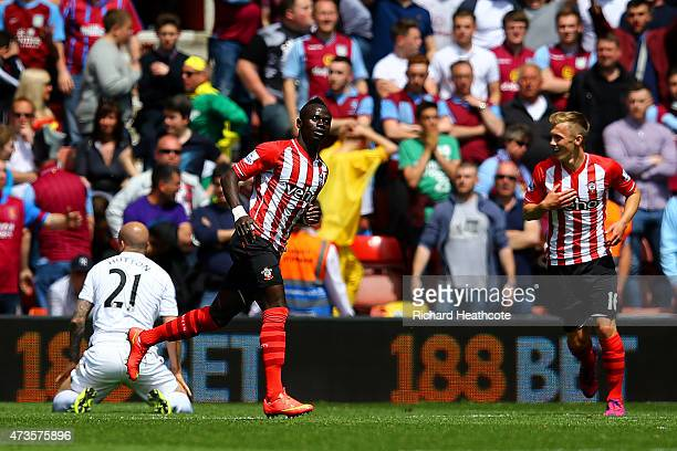 Sadio Mane of Southampton celebrates scoring his team's third goal for hat trick during the Barclays Premier League match between Southampton and...