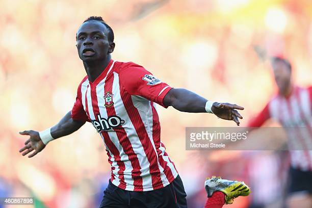 Sadio Mane of Southampton celebrates scoring the opening goal during the Barclays Premier League match between Southampton and Chelsea at St Mary's...