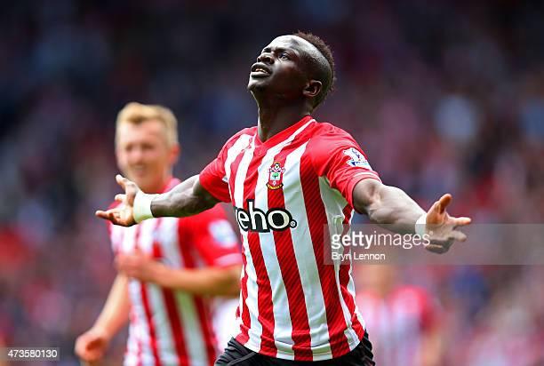 Sadio Mane of Southampton celebrates scoring the opening goal during the Barclays Premier League match between Southampton and Aston Villa at St...
