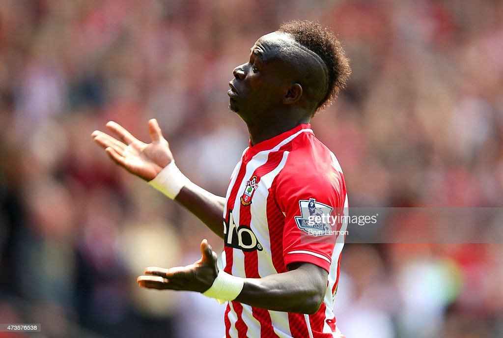 Sadio Mane of Southampton celebrates scoring the third goal and his hat trick during the Barclays Premier League match between Southampton and Aston Villa at St Mary's Stadium on May 16, 2015 in Southampton, England.