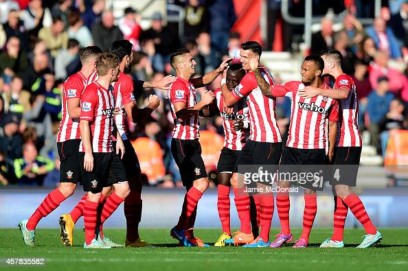 Sadio Mane of Southampton celebrates with teammates after scoring the opening goal during the Barclays Premier League match between Southampton and...
