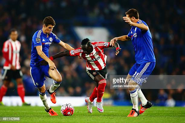 Sadio Mane of Southampton competes against Oscar and Nemanja Matic of Chelsea during the Barclays Premier League match between Chelsea and...