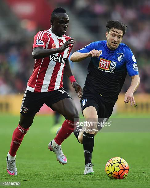 Sadio Mane of Southampton is chased by Harry Arter of Bournemouth during the Barclays Premier League match between Southampton and AFC Bournemouth at...