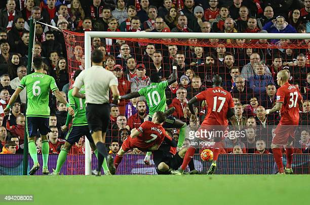 Sadio Mane of Southampton scores his team's first goal during the Barclays Premier League match between Liverpool and Southampton at Anfield on...