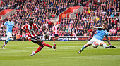Sadio Mane of Southampton scores his team's second goal during the Barclays Premier League match between Southampton and Manchester City at St Mary's...