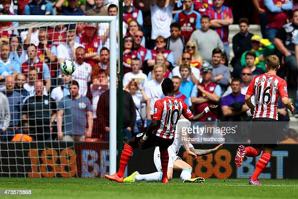 Sadio Mane of Southampton scores his team's third goal for hat trick during the Barclays Premier League match between Southampton and Aston Villa at...