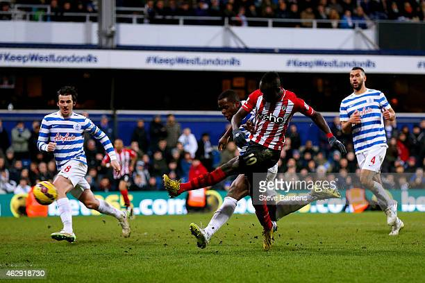 Sadio Mane of Southampton scores the winning goal during the Barclays Premier League match between Queens Park Rangers and Southampton at Loftus Road...