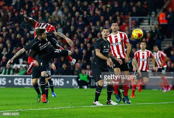 Sadio Mane of Southampton scores their first goal with a header during the Capital One Cup quarter final match between Southampton and Liverpool at...