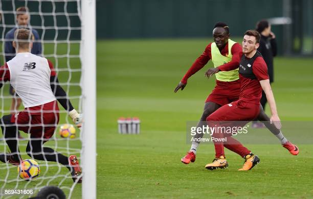 Sadio Mane with Andy Robertson of Liverpool during a training session at Melwood Training Ground on November 2 2017 in Liverpool England