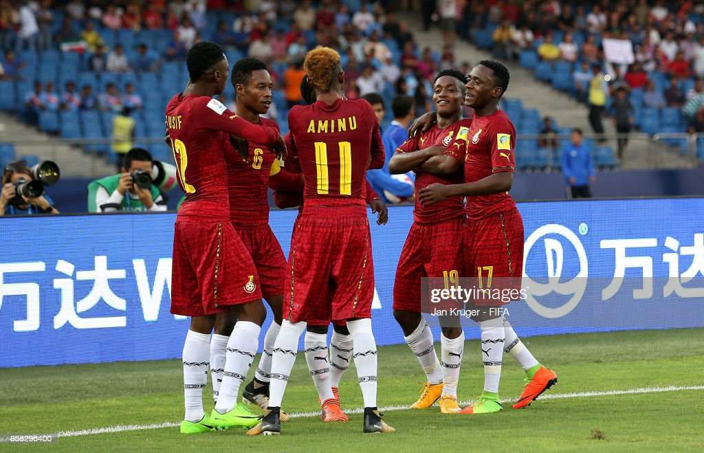Sadiq Ibrahim of Ghana (2ndR) celebrates his goal with team mates during the FIFA U-17 World Cup India 2017 group A match between Colombia and Ghana at Jawaharlal Nehru Stadium on October 6, 2017 in New Delhi, India.