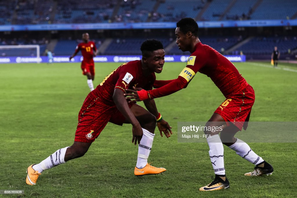 Sadiq Ibrahim (L) of Ghana celebrates with Eric Ayiah after scoring his team's first goal to make it 0-1 during the FIFA U-17 World Cup India 2017 group A match between Colombia and Ghana at Jawaharlal Nehru Stadium on October 6, 2017 in New Delhi, India.
