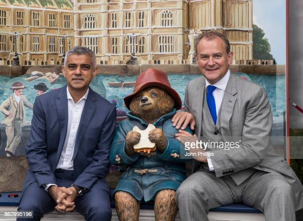 Sadiq Khan and Hugh Bonneville attend the Paddington's PopUp London launch at More London on October 19 2017 in London England
