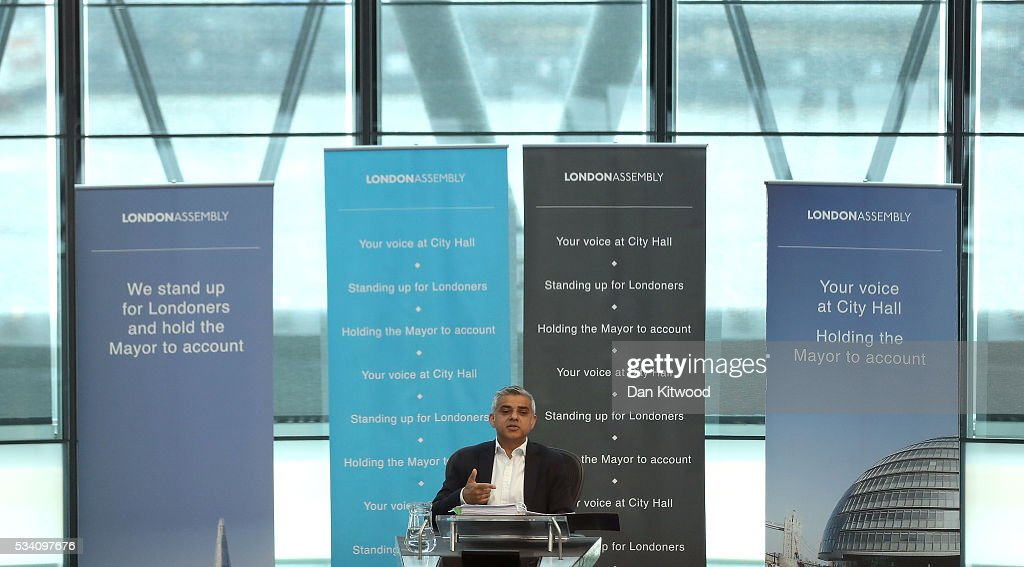 Sadiq Khan at City Hall on May 25, 2016 in London, England. The new London Mayor, elected in May, answers questions from the Assembly in public on Londons economy and the EU, affordable rents and housing and FGM at his first Mayors Question Time. The Mayor is questioned by the Assembly ten times a year to hold his administration to account.