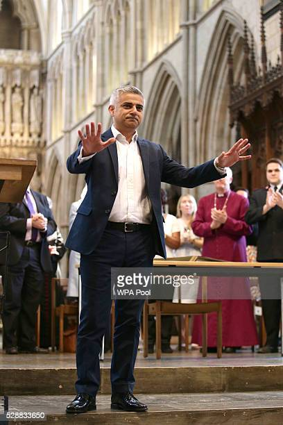 Sadiq Khan attends an official signing ceremony at Southwark Cathedral as he begins his first day as newly elected Mayor of London on May 7 2016 in...
