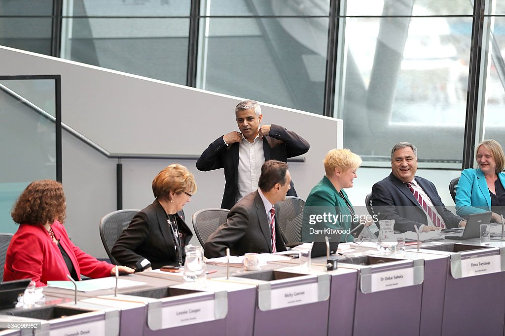 Sadiq Khan attends his first Mayor's question time at City Hall on May 25, 2016 in London, England. The new London Mayor, elected in May, answers questions from the Assembly in public on Londons economy and the EU, affordable rents and housing and FGM at his first Mayors Question Time. The Mayor is questioned by the Assembly ten times a year to hold his administration to account.
