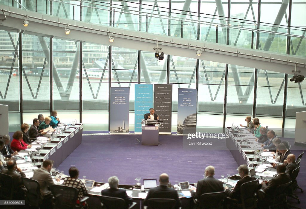 <a gi-track='captionPersonalityLinkClicked' href=/galleries/search?phrase=Sadiq+Khan&family=editorial&specificpeople=3431876 ng-click='$event.stopPropagation()'>Sadiq Khan</a> attends his first Mayor's question time at City Hall on May 25, 2016 in London, England. The new London Mayor, elected in May, answers questions from the Assembly in public on Londons economy and the EU, affordable rents and housing and FGM at his first Mayors Question Time. The Mayor is questioned by the Assembly ten times a year to hold his administration to account.