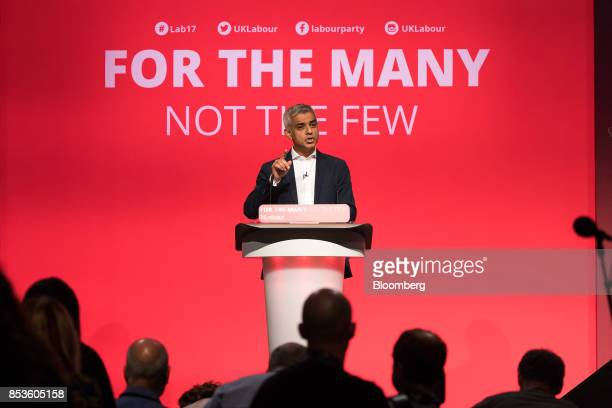 Sadiq Khan London mayor from the UK opposition Labour Party gestures as he speaks at the Labour Party Annual Conference in Brighton UK on Monday Sept...