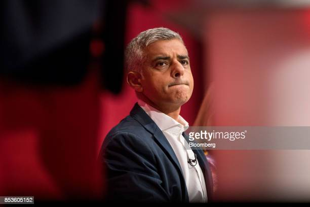 Sadiq Khan London mayor from the UK opposition Labour Party pauses at the Labour Party Annual Conference in Brighton UK on Monday Sept 25 2017 UK...