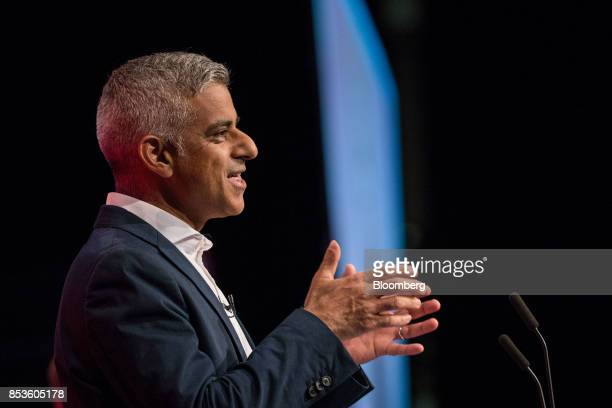 Sadiq Khan London mayor from the UK opposition Labour Party speaks at the Labour Party Annual Conference in Brighton UK on Monday Sept 25 2017 UK...