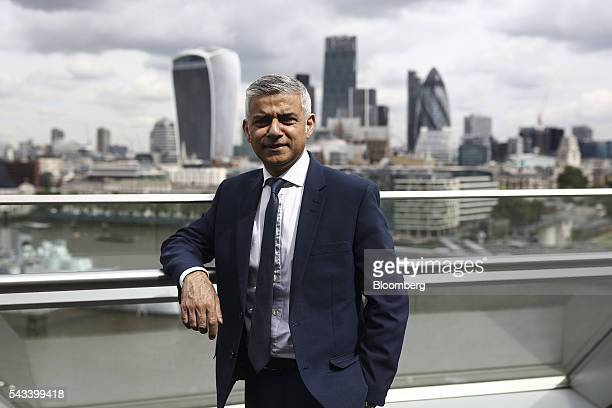 Sadiq Khan mayor of London poses for a photograph following a Bloomberg Television interview at City Hall in London UK on Tuesday June 28 2016 Khan...